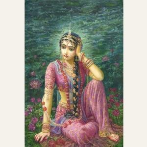 Radha Alone by Shyamarani Dasi. More information and purchase options here: http://bhaktiart.net/hp_wordpress/?dt_portfolio=radha-alone